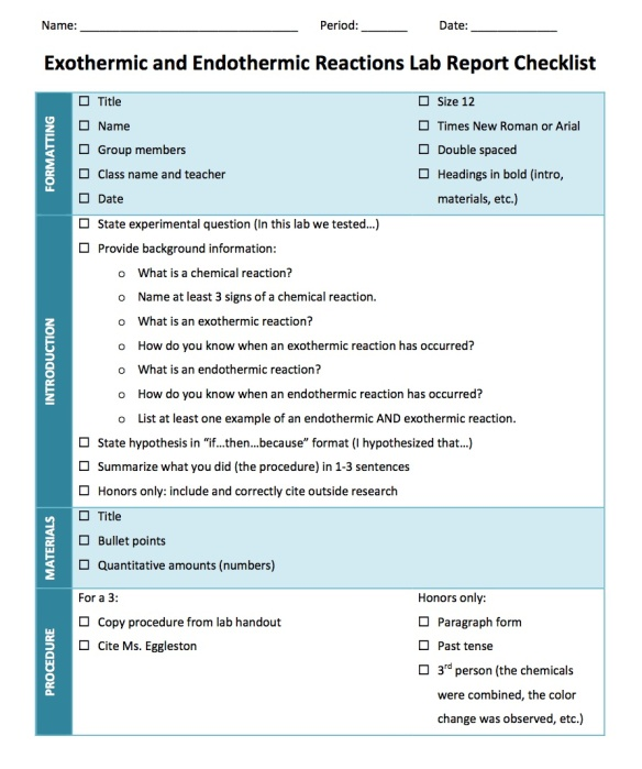 Lab Report Checklist: Introduction