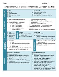 CuSO4 Lab Checklist