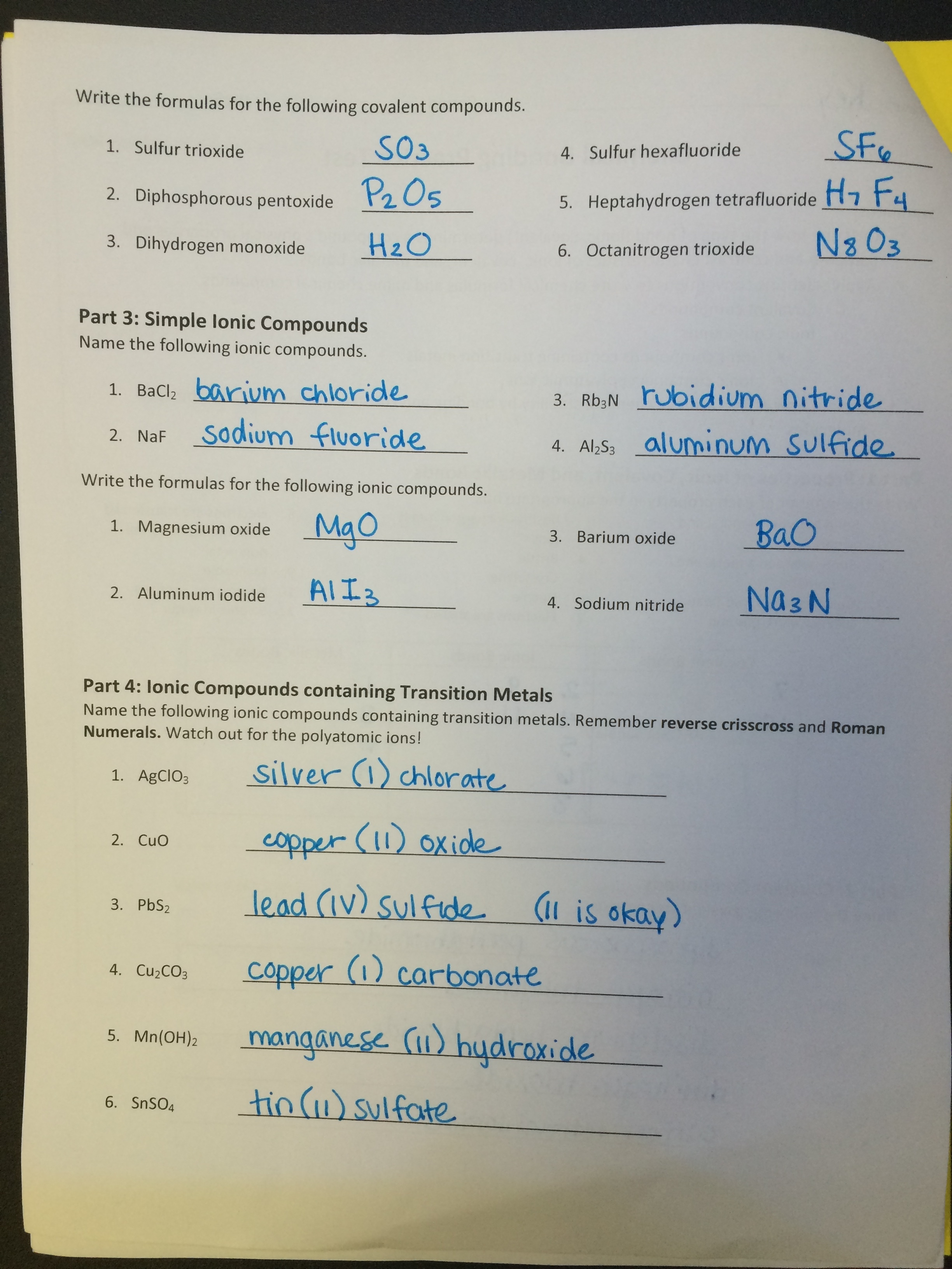 Chemical Bonding Practice Test Answers | Ms. Eggleston's Chemistry ...